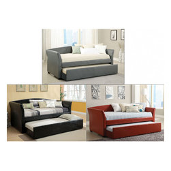 Furniture of America - Furniture of America Buckies Contemporary Leatherette Day Bed with Rolling with - Perfect for the guestroom, this daybed features a rolling trundle and boasts a durable wood construction with lavish leatherette upholstered frames, with elegant flare. The trundle sits on easy smooth rolling caster for convenient access.