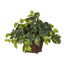 Nearly Natural - Pothos with Coiled Rope Planter Silk Plant - Handsome is what we'd call this stately Pothos silk plant. With countless lush leaves in several different shades of green, this full Pothos will fool even the most discerning plant lover into thinking it's real. Smartly paired with a beautiful coiled rope planter, this is the ideal ornament for any home or office. Also makes a perfect gift.