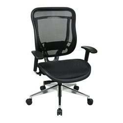 Office Star - Matrex Back and Seat w Adjustable Arm Chair - Breathable mesh back with adjustable lumbar support. Deluxe 2-to-1 synchro tilt control with 3-position lock, anti-kickback, seat slider and tilt tension control. Height adjustable arms. Heavy duty angled polished Aluminum base with oversized dual wheel carpet casters breathable. Mesh seat. 28.5 in. D x 28 in. W x 44 in. H