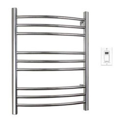 WarmlyYours Riviera 32'' Towel Warmer in Brushed Stainless Steel TW-R09BS-HW - The WarmlyYours Riviera Towel Warmer is manufactured with superior-quality metal - providing maximum durability and long lasting beauty. With its stylish and luxurious design, the Riviera is designed to dry and warm large towels or bathrobes with ease. The Riviera comes with a programmable timer and an on/off switch on the towel warmer, allowing you the flexibility to set it in advance so that your towels are warm and ready for you when you step out of the shower or bath