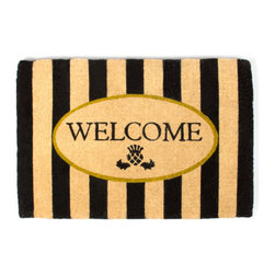 Awning Stripe Welcome Mat | MacKenzie-Childs - If there's no second chance at a first impression, make yours count! Greet guests with beautifully detailed, natural entrance mats. For use in protected areas only.