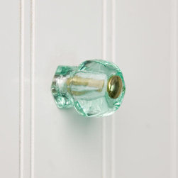 Depression Green Glass Cabinet Knob - This cabinet knob made of Depression Green glass has solid brass accents and a vintage look. This glass knob includes interchangeable accent pieces.