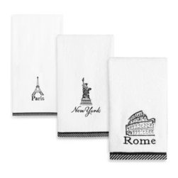 Creative Bath Products - Passport Bath Towel in 50-Inch x 25-Inch - The stylish black and white newsprint collages on these Passport embroidered towels feature several cities from around the globe. The bath towel features Paris.
