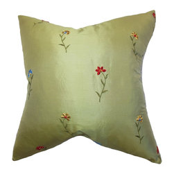 The Pillow Collection - Daithi Floral Pillow Green - Decor pillows like this one allows you to inexpensively update your space. Crafted using the finest 100% silk fabric, this throw pillow features a pretty floral accent against a green background. This square pillow makes a welcome addition to any room inside your house. You can easily combine other colors, patterns and materials with this beautiful accent piece. Hidden zipper closure for easy cover removal.  Knife edge finish on all four sides.  Reversible pillow with the same fabric on the back side.  Spot cleaning suggested.