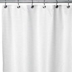 Ex-cell Home Fashions, Inc.,bath - Aqua Tec Fabric Shower Curtain Liner in White - Revolutionary shower curtain liner is made of a unique horizontal woven dobby striped fabric with a water-resistant finish that is similar to an umbrella.