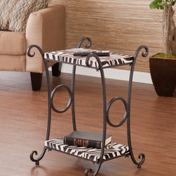 Upton Home - Castell Zebra Animal Print Accent/ Side Table - Turn your living room into a tame safari by introducing this stylish animal-print table. The zebra-print imitation leather features a rich texture to mimic the grain of the real deal. Stick this side table in any spot that calls for extra storage.
