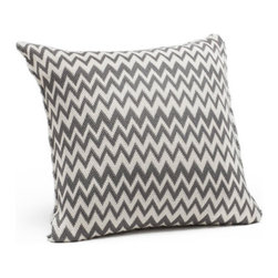 "Coyuchi Organic Cotton Zigzag  Pillow Ivory with Charcoal - Bold pattern and subtle texture make our Organic Cotton Zigzag Pillow Ivory with Charcoal look terrific; the 100% organic cotton construction makes it even better. Rich, yarn-dyed color and a chunky, organic texture give these matelasse pillows irresistible character, perfect for layering in dynamic color. Soft cotton is finished with clean knife edges for a perfect accent on the bed, couch, or chair. Natural coconut shell buttons keep the cover in place on the removable kapok insert.   Dimensions: 16""H x 16""W   Care: Covers may be hand or machine washed in cold and line dried. Kapok inserts may be fluffed in a warm dryer for 15 minutes, and machine washed in cold, then tumble dried on warm."