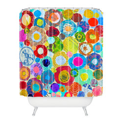 DENY Designs - Elizabeth St Hilaire Nelson Concentric Circles Shower Curtain - Who says bathrooms can't be fun? To get the most bang for your buck, start with an artistic, inventive shower curtain. We've got endless options that will really make your bathroom pop. Heck, your guests may start spending a little extra time in there because of it!