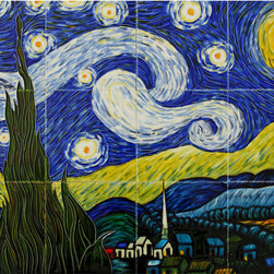 None - Vincent Van Gogh, 'Starry Night' Hand-painted Mural Wall Tiles (Pack of 12) - This is a hand painted ceramic tile mural replicated after Vincent Van Gogh's, Starry Night. This stylish ceramic tile is a perfect accent to any backsplash in a kitchen or bathroom.