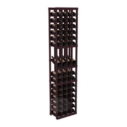 4 Column Display Row Wine Cellar Kit in Redwood with Burgundy Stain - Make your best vintage the focal point of your wine cellar. Four of your best bottles are presented at 30° angles on a high-reveal display. Our wine cellar kits are constructed to industry-leading standards. You'll be satisfied with the quality. We guarantee it.