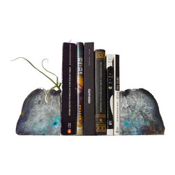 EarthSeaWarrior - BookGardEndz Crystal Bookends Air Plant Garden, Planetary Storm - Bring otherworldly beauty to your bookshelf with these stunning, ethereal crystal bookends. These large, cut-open agate crystal geodes are also home to air plants, which have been planted in the crevices of the stone, adding botanical beauty to your decor. These low-maintenance plants require very little, and come with a four ounce bottle of ESW air plant fertilizer to get you started. With these crystals flanking your mantle, credenza or bookshelf, you'll be showcasing natural beauty in a truly enchanting way!