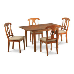 """East West Furniture - Milan 5Pc Set with Dining Table and 4 Napoleon Microfiber Seat Chairs - Milan 5Pc Set with Rectangular Table Featured 12 In Butterfly Leaf and 4 Microfiber Upholstered Seat Chairs; Rectangular dining table is designed in contemporary style with clean angles and sleek lines.; Table and chairs are crafted of fine Asian solid wood for quality and longevity.; Chairs are available with either wooden seats or upholstered seats to suit preference and desired motif.; Table features a standard butterfly leaf for convenient extension.; Ladder back chair style is sturdy, durable, and is ideal for classic decor in any kitchen or dining room.; Dinette sets are available in either rich Mahogany or exquisite Saddle Brown finish.; Weight: 141 lbs; Dimensions: Table: 42 - 54""""L x 36""""W x 29.5""""H; Chair: 18""""L x 18""""W x 38""""H"""