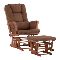 Stork Craft - Stork Craft Tuscany Glider and Ottoman with Free Lumbar Pillow in Cognac with Ch - Stork Craft - Rocking Chairs Rockers - 0655459C - Available in 6 wood finishes and 4 fabric combinations to create your own custom Tuscany Glider and Ottoman. The Stork Craft Tuscany Glider and Ottoman set offers gentle motion while feeding your baby in those early morning hours. Featuring a solid construction with a magical sleigh design this is a royal centerpiece for your nursery. The enclosed metal ball-bearings allow for an incredibly smooth motion to glide your baby back to sleep. Micro fiber spot-cleanable cushions ease the worry about spills while the construction offers an exquisite finish you'll appreciate far beyond the baby years. The Tuscany Glider comes with a matching soft plush lumbar support pillow for supporting your baby during feeding times.