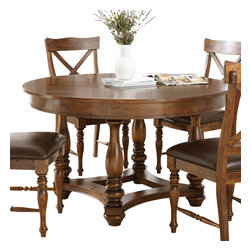 Steve Silver Furniture - Steve Silver Wyndham Round Dining Table in Distressed Medium Cherry - Round Dining Table in Distressed Medium Cherry belongs to Wyndham Collection by Steve Silver The Wyndham Dining Collection adds a rustic country charm to any dining area, with a modern flair that fits even the most sophisticated of tastes. Made of birch solids with a distressed medium cherry finish, the 54?ǥ round dining table, featuring elegant turned legs and a shaped solid wood stretcher, seats up to four comfortably.  Dining Table (1)