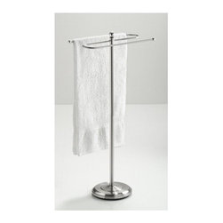 Taymor - Taymor Bath Towel Valet in Satin Nickel - Floor standing. Weighted base. Holds two full size bath towels. Can also hold two hand towels. Wipe with clean and soft damp cloth. Do not use polishes, chemicals or abrasives. Manufacture Warranty: 1 year. Made from plated steel. Minimal assembly required. Arms: 16.5 in. W. Base: 11 in. Dia.. Overall: 38.5 in. H (15 lbs.)