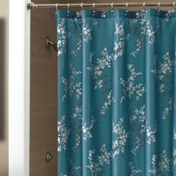 Croscill - Croscill Tranquility 72-Inch x 72-Inch Shower Curtain - Can style convey both boldness and serenity? The answer is yes with this Croscill shower curtain. Black and gray metallic flower silhouettes punctuate the rich background of teal, striking a unique balance between daring and calm in your decor.
