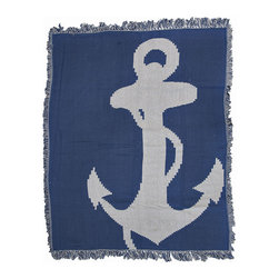 Zeckos - Nautical Anchors Away Woven Cotton Tapestry Throw Blanket 46 in. x 56 in. - This blue and light gray woven tapestry throw blanket is a wonderful addition to rooms with nautical decor. Made of cotton, the blanket measures 46 inches wide, 56 inches long, and has approximately 1 1/2 inches of fringe around the border. One side is blue with a light gray anchor, the other side is light gray with a blue anchor so you can change up the look of the blanket draped over the back of your couch, on a chair, or on the end of your bed. Care instructions are to machine wash in cold water on a delicate cycle, tumble dry on low heat, wash with dark colors separately, and do not bleach. This comfy blanket makes a great housewarming gift that is sure to be loved.