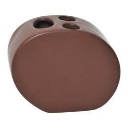 Stoneware Toothbrush Holder Brown - This elegant toothbrush holder for bathrooms is in stoneware with simple lines and contemporary curves to add a modern look and feel to your decor. This toothbrush holder is a lovely accent for any bathroom and has three slots for toothbrushes and toothpaste. Its shape is circular with a length of 4.21-Inch, a width of 1.97-Inch and a height of 5.51-Inch. Wipe clean with soapy water. Color brown. Accessorize your bathroom countertop in a trendy style with this charming toothbrush holder! Complete your decoration with other products of the same collection. Imported.
