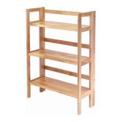 Winsome - 3-Tier Foldable Stackable Shelf - This folding shelf comes in three different finishes to match any space. Double stack this shelf to create a wall unit. Use it in the bathroom for your towels, in the kids room for their stuff toys or in an office for books or files. Made of Solid beechwood.