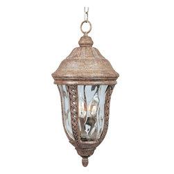 Joshua Marshal - Three Light Earth Tone Water Glass Glass Hanging Lantern - Three Light Earth Tone Water Glass Glass Hanging Lantern