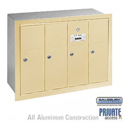 Salsbury Industries - Vertical Mailbox (Includes Master Commercial Lock) - 4 Doors - Sandstone - Vertical Mailbox (Includes Master Commercial Lock) - 4 Doors - Sandstone - Recessed Mounted - Private Access