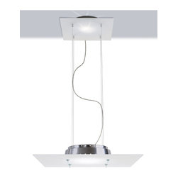 Zaneen - Space Suspension Pendant in Gray - Requires G9 base 150 watt T3Q and 25 watt halogen bulb. Contemporary style. Floating canopy. Satin glass diffuser. North American standard certified. cCSAus safety approved. Made in Italy. Fixture extension: 24.25 in.. Overall: 23.5 in. W x 23.5 in. H