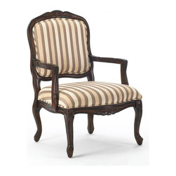 Comfort Pointe - Hayward Accent Chair in Walnut Finish - Made from solid wood. French provincial style. Intricate detailed hand carvings. Chenille stripe fabric upholstery. Warranty: One year limited. Assembly required. Seat height: 17.5 in.. Overall: 29 in. W x 26 in. D x 39 in. H (28.6 lbs.)This beautifully crafted accent chair is the perfect addition to any room. This chair is sure to be a staple in your home for years to come.