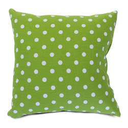 Majestic Home - Indoor Lime Small Polka Dot Large Pillow - Here's an overstuffed square that really hits the spot. This cotton twill pillow is a cool complement to solids and stripes — toss it into your mix for an instant style upgrade.