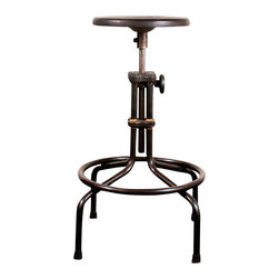 Nuevo Living - V19C Counter Stool, Sepele, Set of 2 - This industrial-chic stool brings home a real neo-retro vibe. With its cast iron frame, brazed joinery and adjustable oak seat, it looks like it came from some defunct factory — a quirky-cool piece for your favorite eclectic setting.