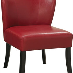 "Coaster - Accent Chair, Red - Add a splash of color to your room with this smooth accent chair with a slightly curved back for comfortable, padded seating and wood legs.; Finish/Color: Red; Upholstery: Leather-like vinyl; Dimensions: 26.25""L x 27""W x 21""H"