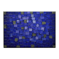 Matthew's Art Gallery - Oil Painting Abstract Contemporary Navy Blue Squares - The Painting:  Navy Blue Squares