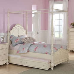 Homelegance Cinderella Canopy Poster Bed in Antique White - Twin with Trundle