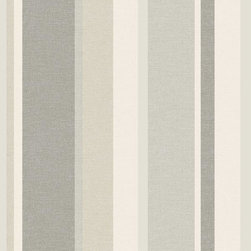 Brewster Home Fashions - Raya Beige Linen Stripe Wallpaper Bolt - Bring stylish depth to walls with this fabulous linen textured wallpaper in a clean beige and grey palette. With luxe pearlescent accents and fresh alternating band widths this sophisticated stripe design boasts fashionable detail.