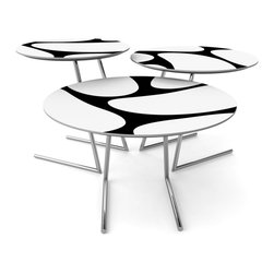 LARA DESIGNS - Cricket Tables - Neuron, Black - This 3 piece nesting table set offers a versatile and infinitely configurable solution for the way we live and work today. Great as coffee tables, end tables and most notably a pull-up laptop table that's perfect for browsing or working while lounging on the sofa with the added benefit of returning to the group when not in use. Also perfect for milk and cookies while watching your favorite flick.