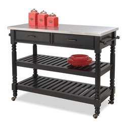 HomeStyles - Kitchen Cart in Black (Black) - Finish: BlackStainless steel top. Dark antiqued bronze hardware. Two easy open storage drawers. Two slotted shelves. Two towel racks all serve as useful tools for handy kitchen storage and easy meal preparation. Can be used for general storage or as wine racks. Adjustable center shelf. Heavy duty, locking, rubber casters. Made from asian hardwood. Black finish. Made in Indonesia. Assembly required. 47.25 in. W x 20.5 in. D x 36 in. H. Assembly Instructions