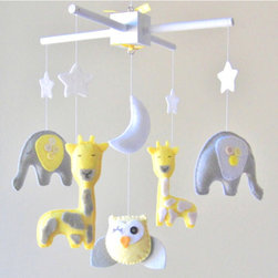 Baby Mobile, Elephant, Giraffe, Owl by Lovefelt Creations - The color combination of yellow and gray is going very strong in home decor, and this adorable mobile would be great for a little boy or girl.