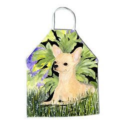 Caroline's Treasures - Chihuahua Apron SS8325APRON - Apron, Bib Style, 27 in H x 31 in W; 100 percent  Ultra Spun Poly, White, braided nylon tie straps, sewn cloth neckband. These bib style aprons are not just for cooking - they are also great for cleaning, gardening, art projects, and other activities, too!