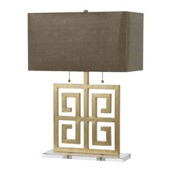 Horizons - Horizons Santorini Contemporary Table Lamp X-LT-3648 - From the Santorini Collection comes this elegant AF Lighting contemporary table lamp. The rectangular faux snake shade has been paired with a crystal base and Gold Foil finish. The base itself has been hand crafted and features a classic Greek inspired design for a refined, beautiful look.