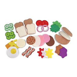 "Melissa & Doug - Melissa and Doug Felt Food - Sandwich Set Multicolor - 3954 - Shop for Cooking and Housekeeping from Hayneedle.com! Your child will love cooking up delicious sandwiches for their friends and families with the Melissa and Doug Felt Food - Sandwich Set. Perfect for pretending to be in a restaurant at home or grocery shopping this set includes 33 mix and match pieces that can be changed up to create a variety of sandwiches. This set is recommended for ages 3-7 years. About Melissa & Doug ToysSince 1988 Melissa & Doug have grown into a beloved children's product company. They're known for their quality educational toys and items and have grown in double digits annually. The Melissa & Doug company has been named Vendor of the Year by such great retailers as FAO Schwarz Toys R Us and Learning Express and their toys have been honored as ""Toys of the Year"" by Child Magazine FamilyFun Magazine and Parenting Magazine. Melissa & Doug - caring quality children's products."