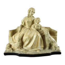 EuroLux Home - 1930 Mother Child Dogs Statue Art - Product Details