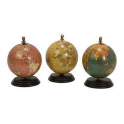 Antique Finish Mini Globe On Wood Base - Set of 3 - Set of three colorful, antique finish mini globes each on an individual wooden base.