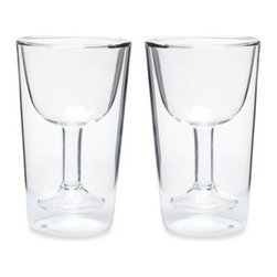 Oenophilia - Oenophilia Double Wall Wine Glass Set (Set of 2) - With the Oenophilia Double Wall Wine Glass you no longer have to worry about the fragile rims and spindly rims of an ordinary wine glass. The wine glass features a hollow-stemmed wineglass-shaped interior and insulation to keep wine's temperature perfect.