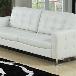 AC Pacific Furniture - Megan White Bonded Leather Sofa - MegB1870 - Megan Collection Sofa