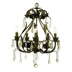 5-Arm Ballroom Chandelier Mocha - Gorgeous, just gorgeous! This mocha 5-arm chandelier is surrounded in flowers and dangling crystals. A perfect size for an elegant kitchen, dining room or even a bedroom. Chain: 3 feet. Dimensions: 20 x 25. 40 watts. Chandelier shades are sold separately in our store.