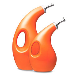 Rachael Ray - Rachael Ray Serveware Orange EVOO and Vinegar Bottles - Featuring a modern design appropriate for use at the table or in the kitchen,these oil and vinegar bottles will help you keep your dressings at hand. And,with a handle and pour spout,each vessel makes additions to sauces,salads,and pastas easy.