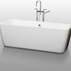 "Wyndham Collection - Wyndham Collection WCOBT100169 White Emily Emily 69"" Free Standing - Emily 69"" Free Standing Acrylic Bathtub with Center Drain The Emily Soaking Tub combines bold minimalist symmetry and soft contoured edges that beg to be touched. Run your fingers over the gentle curves as you slip into this deep, warm bath and enjoy the tranquility you so deserve. Built to last and always warm to the touch, the Verona Bathtubs are a perfect place to melt away tension and stress, leaving you refreshed, recharged and renewed. Wyndham WC-BT1001-69 Features:  Exterior Dimensions: 30-3/8""W x 68-7/8""L x 23-5/8""H Much deeper than standard tubs for full immersion Cable-driven pop-up drain and waste overflow are included and installed Chrome center drain and overflow are included. A brushed nickel drain and overflow can be purchased separately (WC-BT-OVERFLOWTRIM), Rectangular tub shape Warmer to the touch and more comfortable than traditional enamel/steel tubs Acrylic construction for strength and ease of handling and installation Adjustable base for accurate leveling and stability All Wyndham Collection products ship from Southern California  About Wyndham Collection: Wyndham Collection is a line of bathroom furnishings for those who expect innovation and sophistication. By owning their own factory, Wyndham Collection has complete control over the manufacturing process, and the ability to commit to the quality and longevity of their products. To the consumer, this means that you are guaranteed a tub that was created through thoughtful design and is backed by a full 2-year warranty. This warranty period may not sound like much, but consider this: nearly every other tub manufacturer on the market only commits their product to a 1 year warranty. Why offer a warranty"