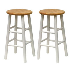 Winsome Wood - Beech & White Kitchen Stools - Set of 2 - Classic stool comes in a beech stain and polish on the beveled seat while the legs are painted bright white over the solid, sturdy wood. Great for a counter or a bar, or use with your kitchen island or high table. Two footrests on each side, and comes two to a package, already assembled for your convenience. A popular furnishing for the kitchen or breakfast nook, this versatile counter stool comes with a beech wood finished and rounded beveled seat over a fresh white finished frame. White legged barstool features a natural wood, rounded seat and is a subtle accent to any d̩cor. * Set of 2. Natural & White finish. Beech Wood. Beveled Seats. No assembly required. 24 in. H x 13 in. W x 13 in. D. 20 lbs