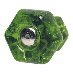 Renovators Supply - Cabinet Knobs Forest Green Glass 1'' Dia Cabinet Knob - Forest green glass cabinet knob handle with chrome screw.  1 in. diameter knob.