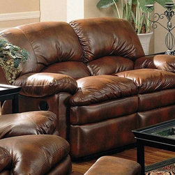 Coaster - Walter Dual Reclining Loveseat - Casual style. Plush pillow arms. Attached back. Leggett and platt reclining mechanisms. Sinuous spring base with fiberfill back cushions. Exterior handles allow for effortless open and closure of the reclining seat. Overstuffed pillow seat and back. Made from bonded leather. Brown color. Seat depth: 20 in.. Overall: 67 in. L x 38 in. W x 39 in. H. WarrantyAccent stitching on the back ends a casual feel to the love seat front. The Walter collection has the look of leather but is covered in easy care bonded leather. Durable and lasting love seat that has all the luxurious appeal of leather with easy care capabilities for a truly livable living room set.