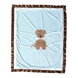 """Puppy Pal Boy - Medium Quilt - Let the Puppy out to play with """"One Grace Place"""" Puppy Pal Boy collection.     """"Puppy Pal"""" coordinating quilt  is amazing and so fun!  Soft minky on both sides make this the perfect blanket anytime and anywhere!  The collections """"Puppy Pal"""" is appliqu�d on the front and the back of this fun quilt!  Front in blue and back in green --all in Minky!  Quilt is trimmed in chocolate brown using our soft satin.  A collection to make you smile in every way!"""